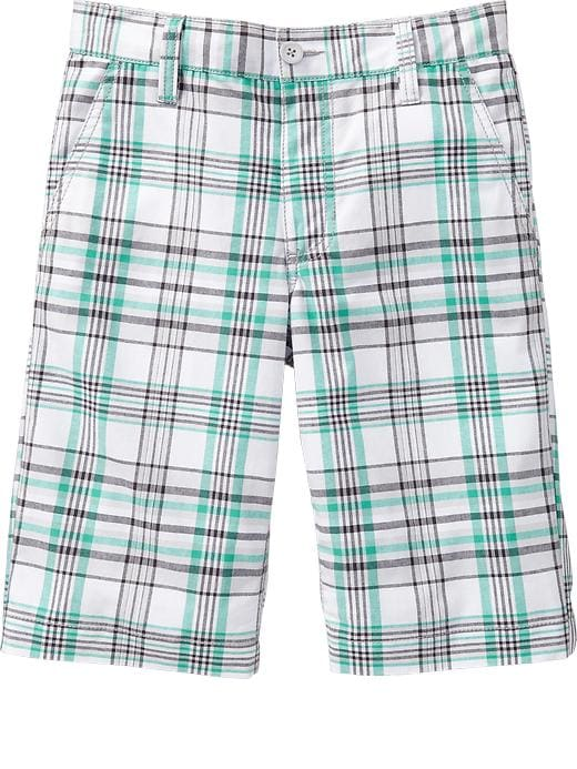 Old Navy Boys Plaid Flat Front Shorts - White/green plaid