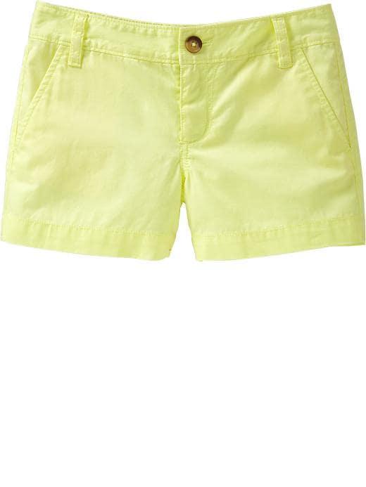 Old Navy Girls Twill Shorts - Neon alarm clock (c)