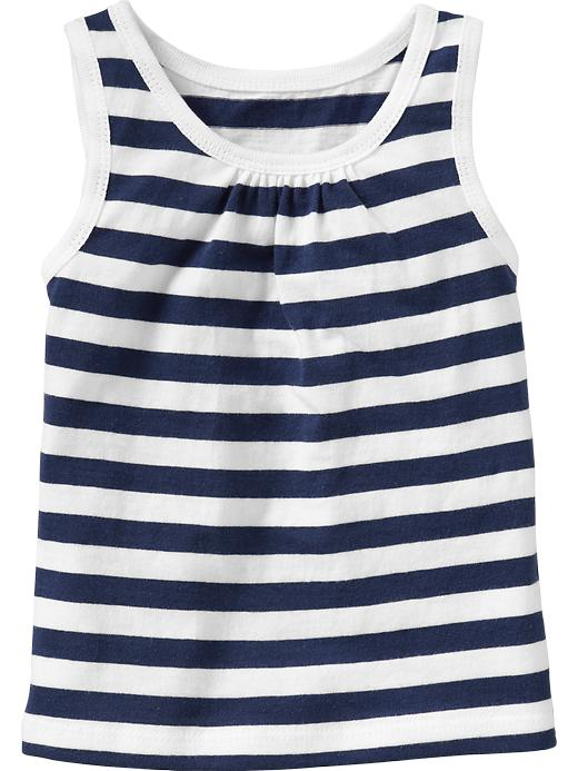 Old Navy Shirred Yoke Printed Tanks For Baby - Navy stripe - Old Navy Canada