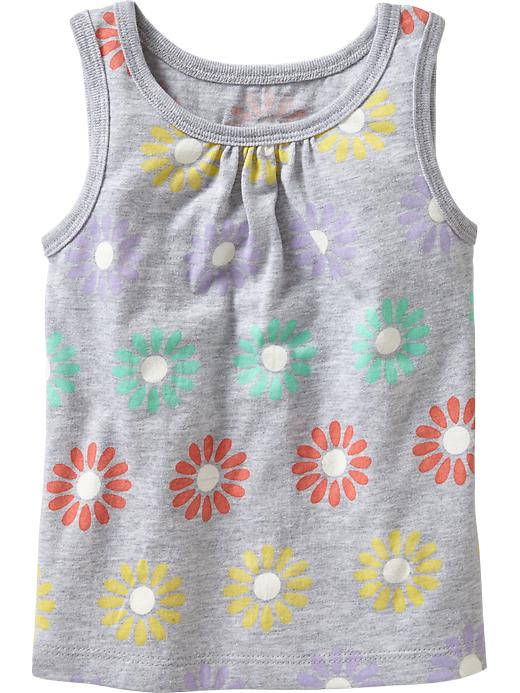Old Navy Shirred Yoke Printed Tanks For Baby - Gray floral - Old Navy Canada