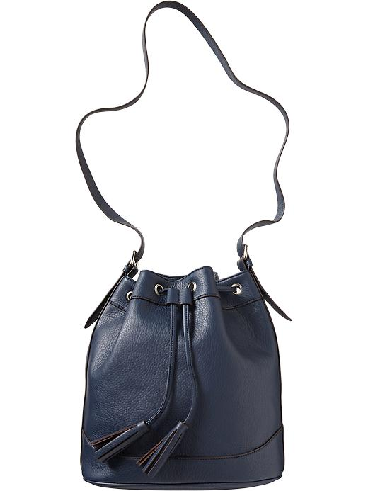 Old Navy Women's Faux Leather Tasseled Bucket Bags - Navy - Old Navy Canada
