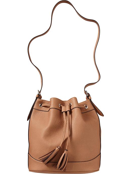 Old Navy Women's Faux Leather Tasseled Bucket Bags - Mocha - Old Navy Canada