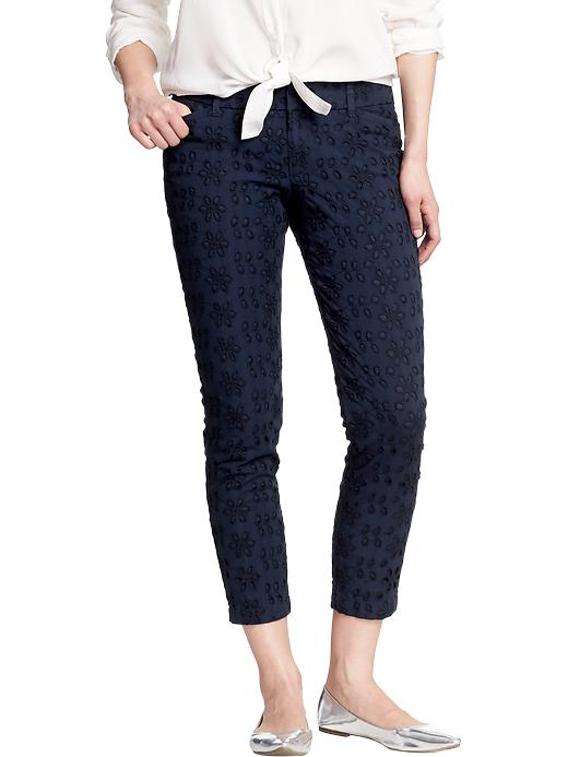 Old Navy Women's The Diva Eyelet Ankle Pants - Navy - Old Navy Canada