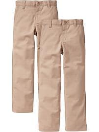 Boys Plain-Front Straight Uniform Khaki 2-Packs