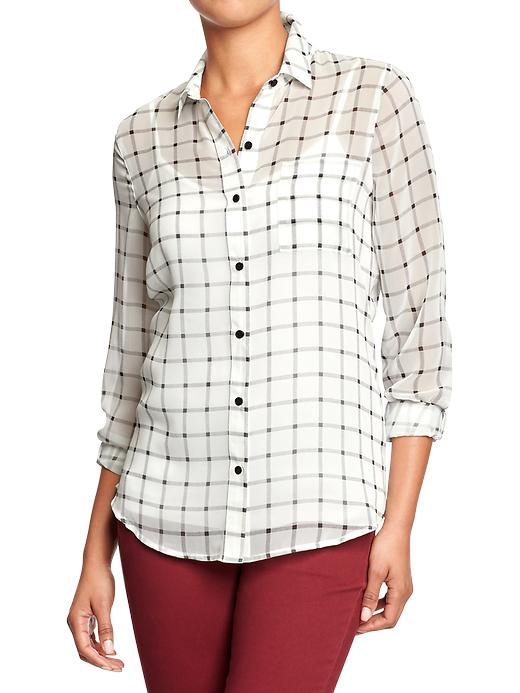 Women's Plaid Chiffon Shirt