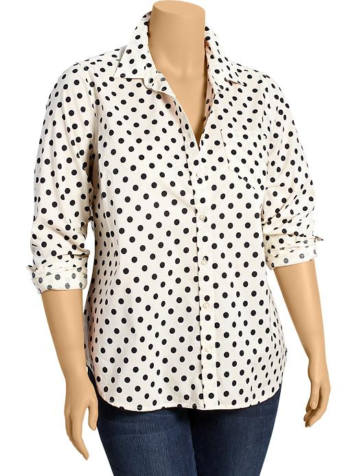Polka-Dot Button-Front Shirts