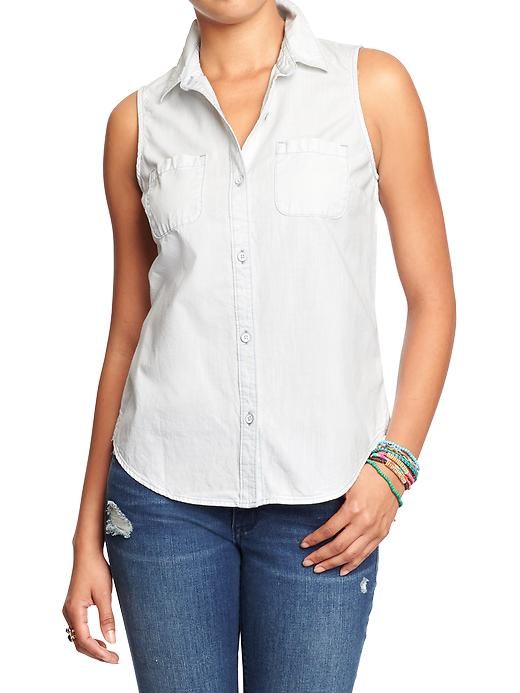 Women's Sleeveless chambray Shirt