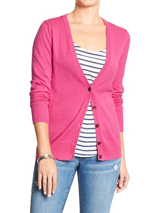 Women's button-front V-neck Cardigan