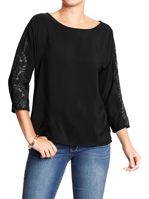 Women's Lace-sleeve Crepe Tops