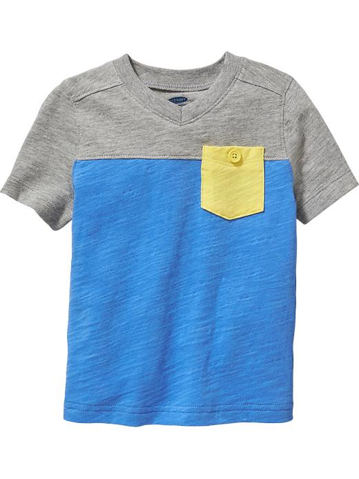 Color-block V-neck Pocket Tees for Baby