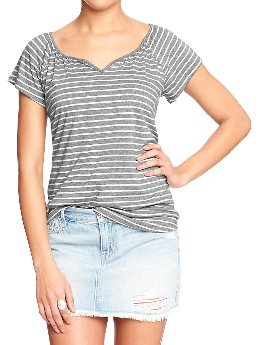 Notch-neck Jersey Top