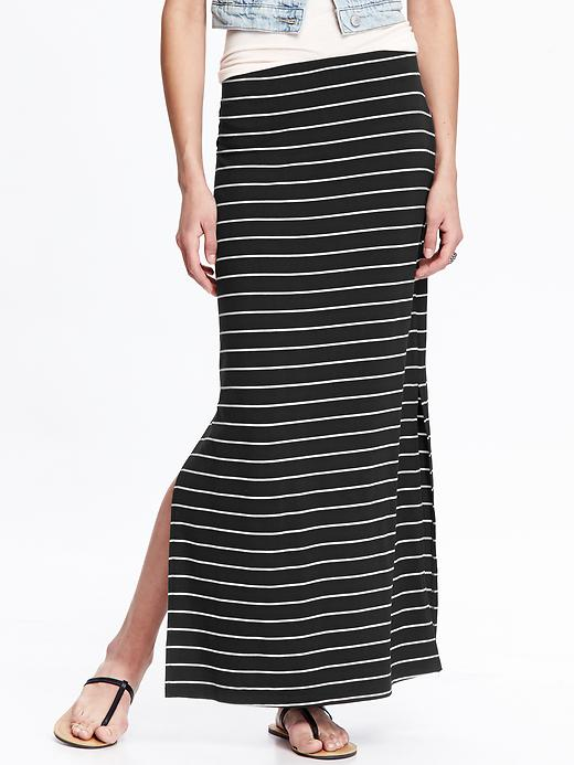 Jersey Side-slit Maxi Skirt