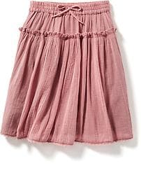 Tiered Crochet-Trim Gauze Skirt for Toddler