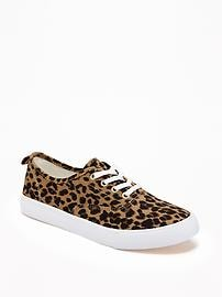 Leopard-Print Twill Sneakers for Girls
