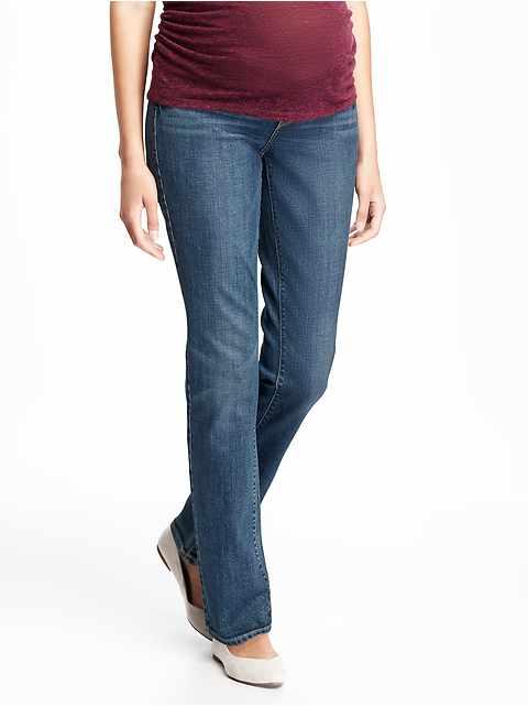 Maternity Side-Panel Straight-Leg Jeans