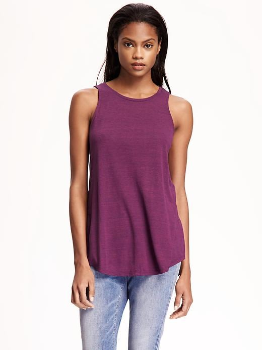 Old Navy Relaxed Hi Neck Texture Tank For Women - Pink tangiers