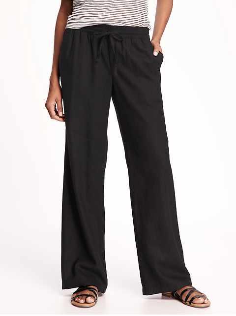 Mid-Rise Linen-Blend Pants for Women