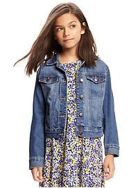 Medium-Wash Denim Jacket for Girls