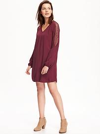 Lace-Sleeve V-Neck Shift Dress for Women