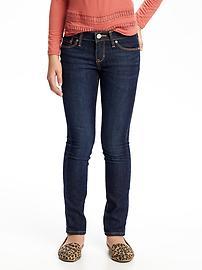 Jeans à jambe étroite au fini foncé pour fille
