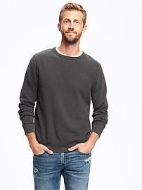 Garment-Washed Fleece Crew-Neck Sweatshirt for Men