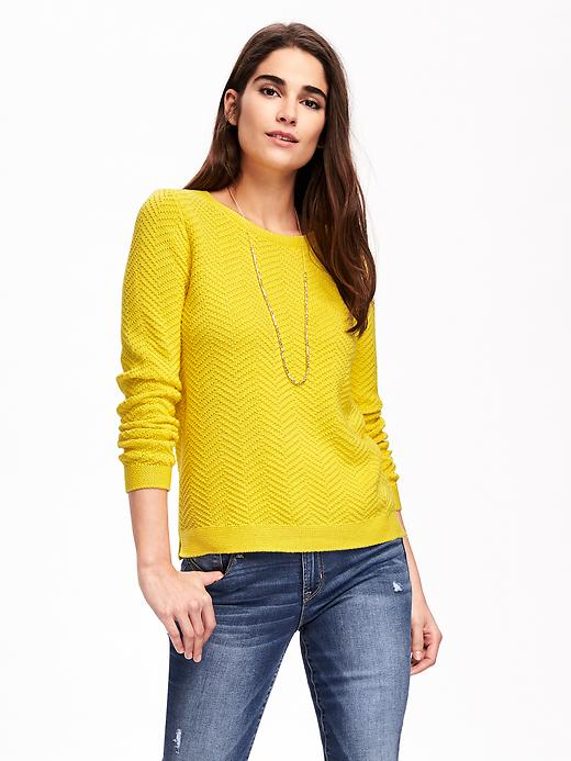 Old Navy Relaxed Textured Crew Neck Pullover For Women - Lime ice