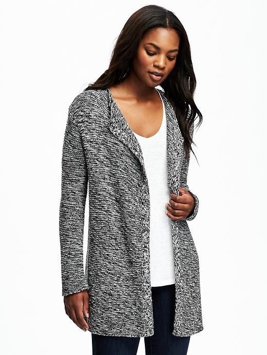 Old Navy Relaxed Open Front Textured Cardi For Women - Black marl
