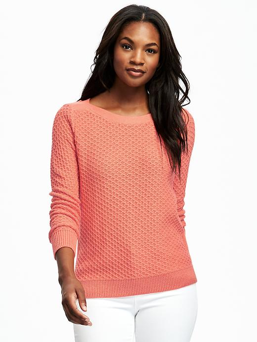 Old Navy Relaxed Textured Boat Neck Sweater For Women - Guava nectar