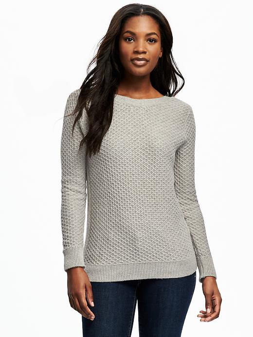 Old Navy Relaxed Textured Boat Neck Sweater For Women - Taupe