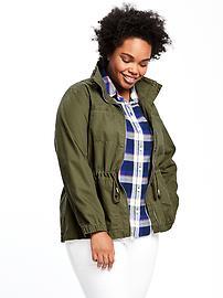 Plus-Size Twill Utility Jacket