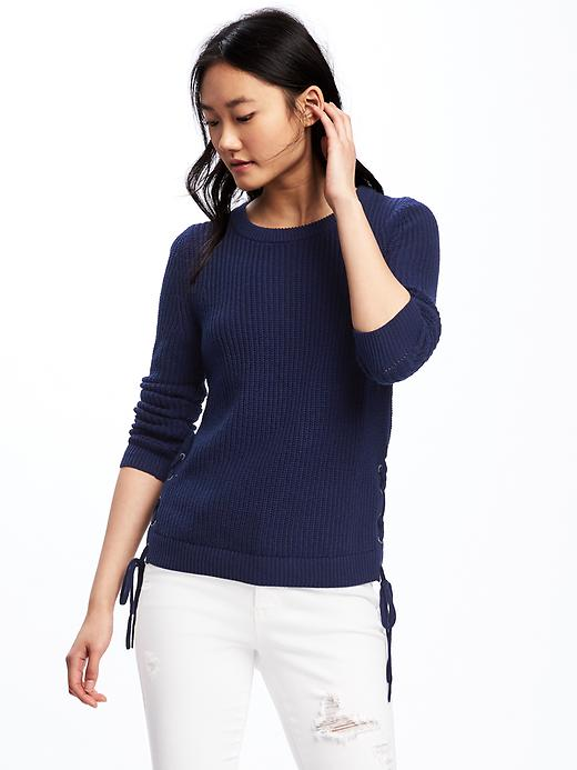 Old Navy Relaxed Textured Lace Up Sweater For Women - Night flight