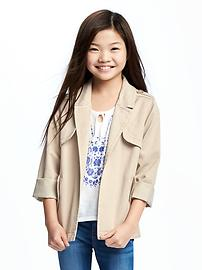 Drapey-Twill Trench Coat for Girls