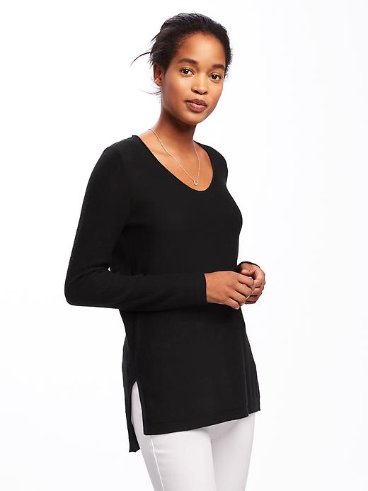 Old Navy Relaxed Textured Tunic Sweater For Women - Blackjack jas