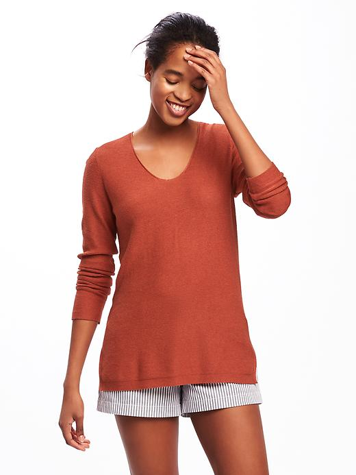 Old Navy Relaxed Textured Tunic Sweater For Women - Spice level