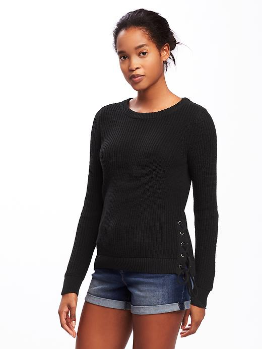 Old Navy Relaxed Textured Lace Up Sweater For Women - Black