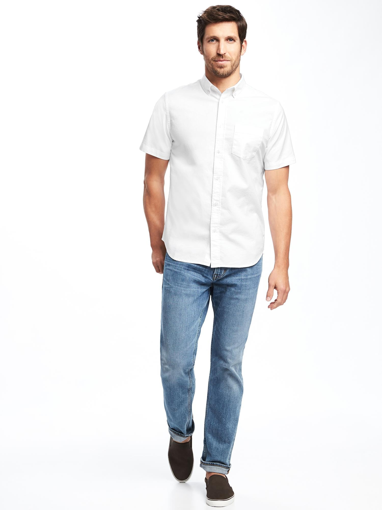 c5383588 Slim-Fit Clean-Slate Built-In Flex Everyday Oxford Shirt for Men ...