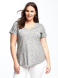 T-shirt décontracté à col en V, taille Plus