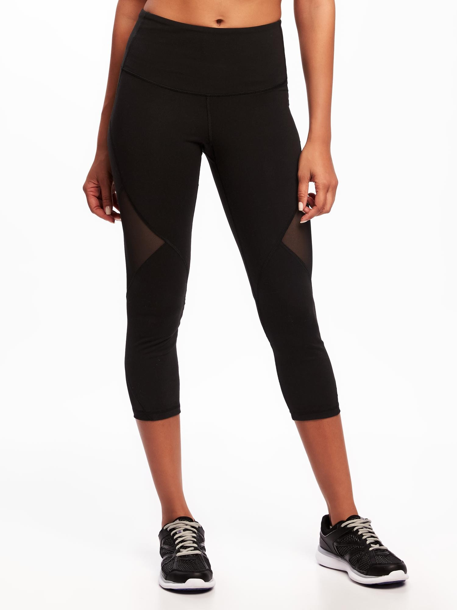 cc15a1da2ff95 High-Rise Mesh-Panel Elevate Compression Crops for Women | Old Navy
