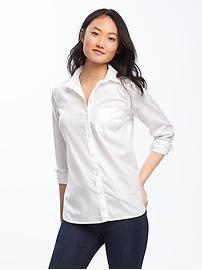 Chemise décontractée classique Toujours-blanc pour femme