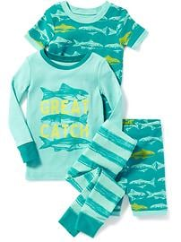 4-Piece Fish-Graphic Sleep Set for Toddler & Baby