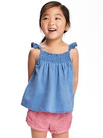 Smocked Chambray Top for Toddler