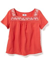 Embroidered Square-Neck Top for Girls