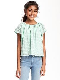 Textured Eyelet Swing Top for Girls