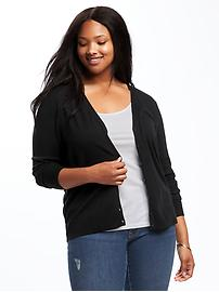 Semi-Fitted Plus-Size V-Neck Cardi