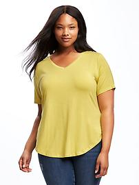 Relaxed Curved-Hem V-Neck Tee