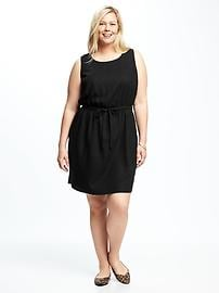 Plus-Size Cinched-Waist Linen-Blend Dress