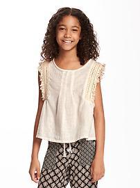 Crochet-Trim Sleeveless Top for Girls