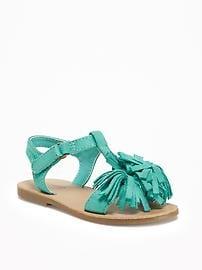 Sueded Fringe T-Strap Sandals for Toddler