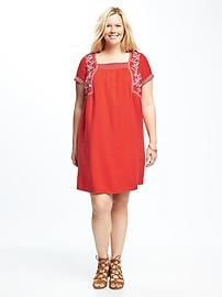 Embroidered Plus-Size Shift Dress