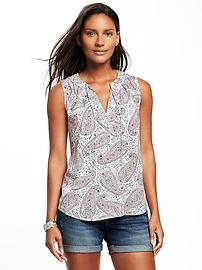 Relaxed Tie-Front Sleeveless Blouse for Women